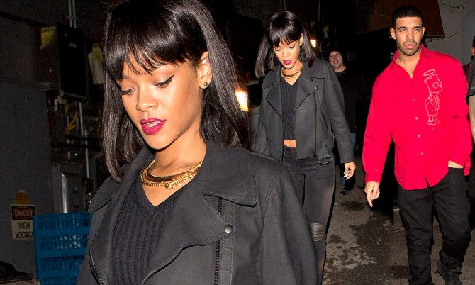 Rumored to be dating, Rihanna and Drake were seen leaving 'Hooray Henry's' Night club separately but in the same car in West Hollywood, CA